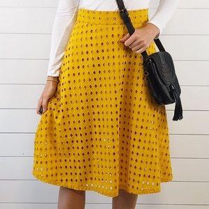 H&M Marigold Yellow Eyelit Lace Midi Circle Skirt